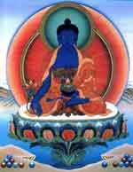 Tibetan Medicine Buddha: Does he heal through his ecstatic energy radiating from his body?