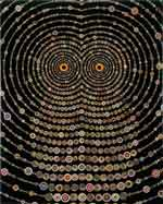 "Fred Tomaselli, ""Study for Night Music for Raptors"", collage and resin on panel."