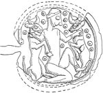 Possibly the naked goddess Ishtar strangling the bulls that represent the heat of the day. The goddess is surrounded by dotted spheres