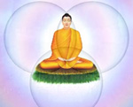 Buddha in the circles' intersection.